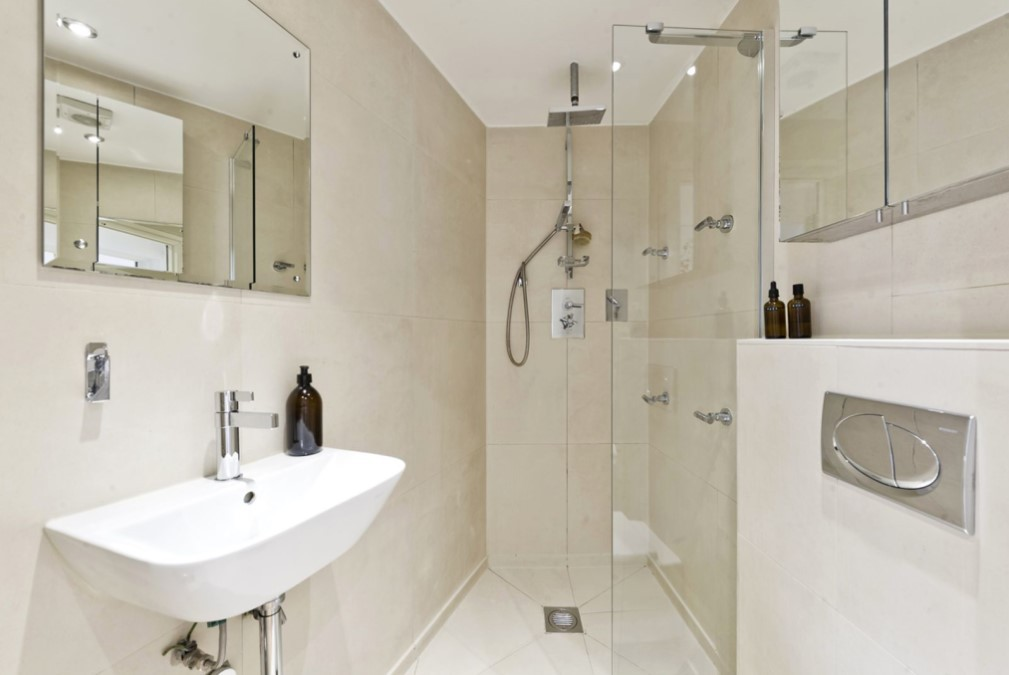 The two-bed flat is designed to accommodate the narrow space